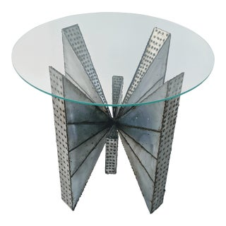 Brutalist Welded Metal Side Table For Sale