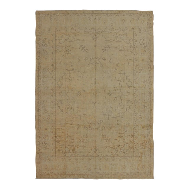 Early 20th Century Antique Turkish Oushak Rug - 9′5″ × 12′10″ For Sale