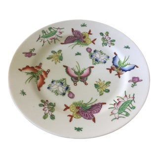 1970s Vintage Japanese Porcelain Butterfly Plate For Sale