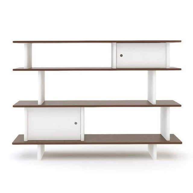 Contemporary Contemporary Oeuf Mini Library White and Walnut Two Toned Bookcase For Sale - Image 3 of 3