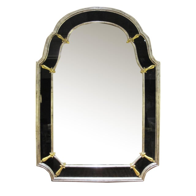 A Glamorous American Hollywood Regency 1960's Silver Gilt Wood Mirror With Black Glass Border For Sale