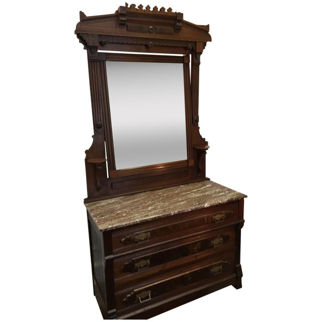Late 19th-C. Walnut Dresser & Swivel Mirror - Image 1 of 5