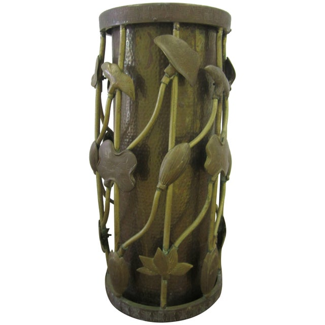 Brass Umbrella Stand in the Art Nouveau Style For Sale - Image 11 of 11
