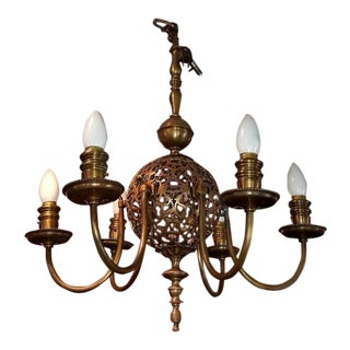 Early 20c Bronze Chandelier & Wall Light Set