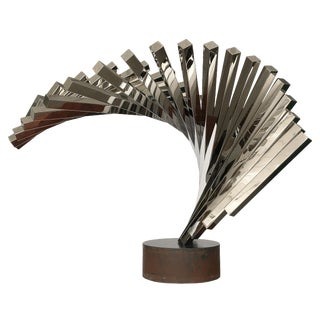 David Lee Brown Abstract Stainless Steel Sculpture for United Airlines For Sale