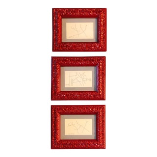 Gallery Wall Collection 3 Original Vintage Miniature Robert Cooke Abstract Ink Drawings Red Lacquer Frames - Set of 3 For Sale