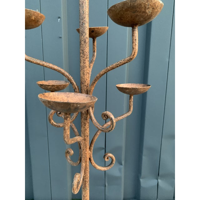 Brown Iron Candelabra For Sale - Image 4 of 5