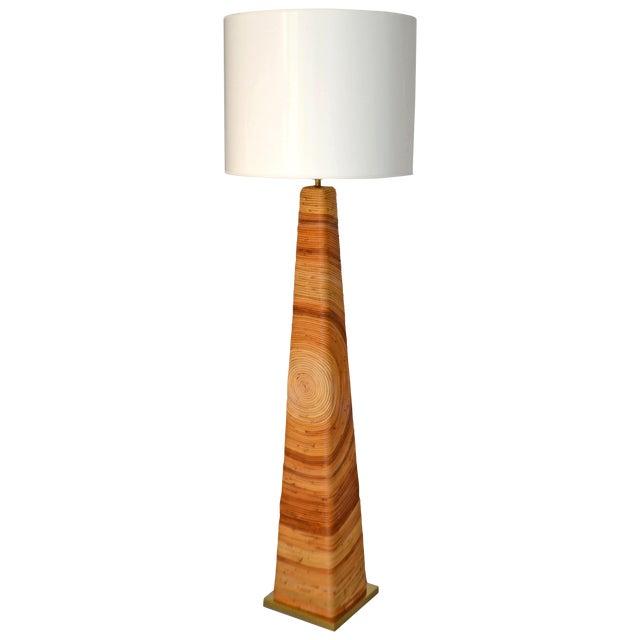 Midcentury Cut Reed Floor Lamp For Sale