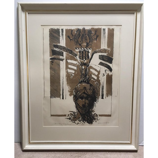 """Gold 1967 Vintage W. Dean Warnholtz """"Good Knight, My Friend"""" Framed Lithograph Print For Sale - Image 8 of 8"""