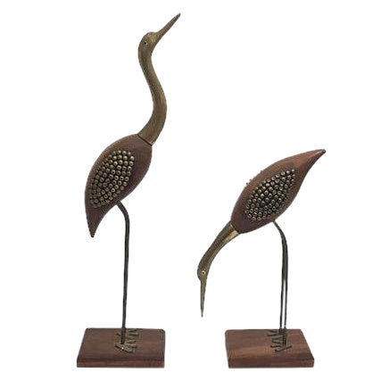 Midcentury Rose Wood & Brass Cranes - A Pair For Sale
