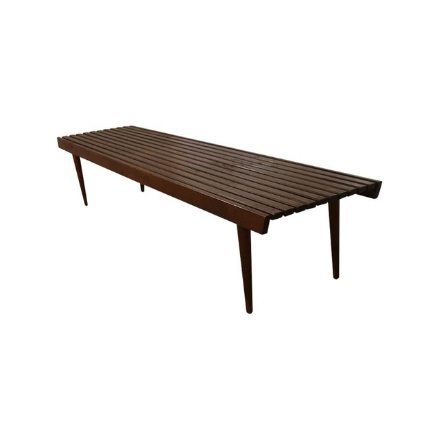 Extra Long Mid Century Slatted Wood Bench Coffee Table George Nelson Style For Sale - Image 12 of 12