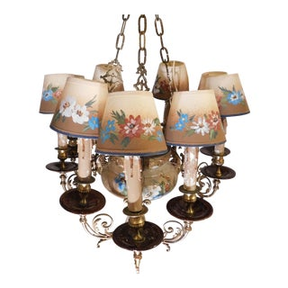 Custom Hand-Painted Porcelain & Bronze Chandelier For Sale