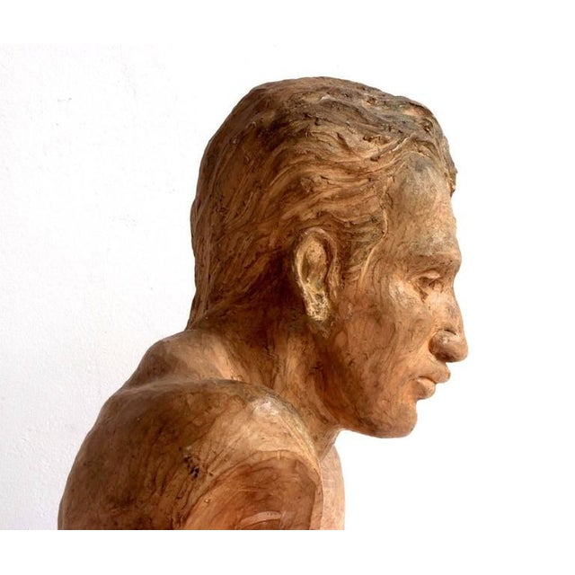 A. Perelli Portrait of an Athlete Clay Sculpture by A. Perelli For Sale - Image 4 of 8