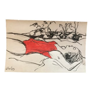1980s Inga-Britta Mills Bathing Beauty Drawing For Sale