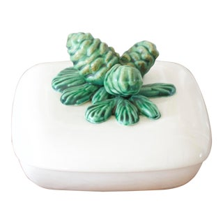 Vintage Pinecone Lidded Dish For Sale