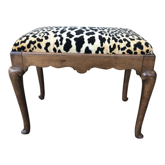 Early 1900s Traditional Leopard Print Low Stool For Sale