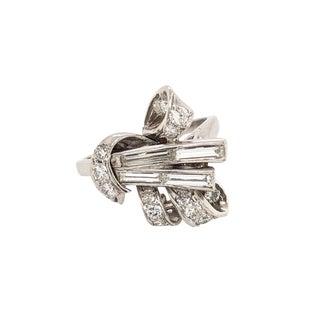 Retro Platinum Diamond & Baguette Bow Form Ring For Sale