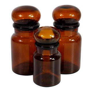 Belgian Amber Glass Apothecary Airtight Jars - Set of 3 For Sale