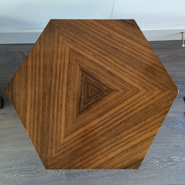 Henredon Hexagonal Walut Side Tables - A Pair - Image 8 of 11