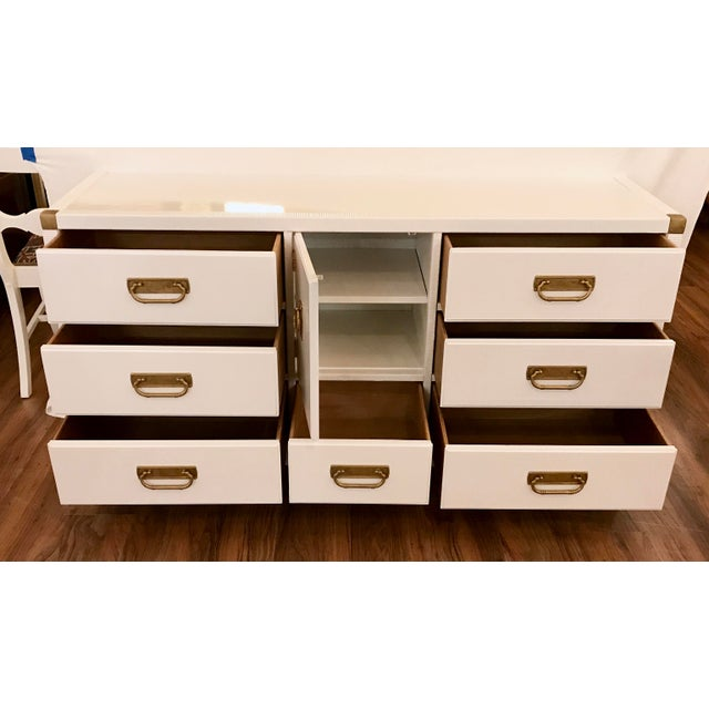 Campaign Lacquered Campaign Credenza by Drexel For Sale - Image 3 of 9