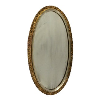 Oval Floral Giltwood Mirror For Sale