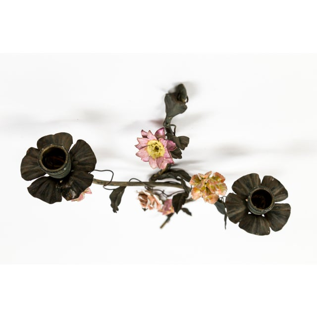 1920s Tole and Porcelain Floral Wall Hanging Candle Holders - A Pair For Sale - Image 5 of 13