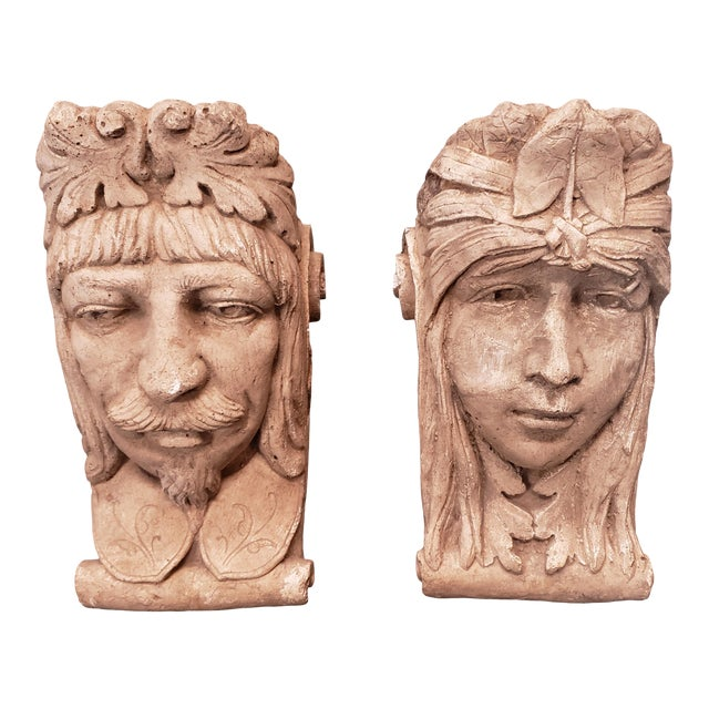 Late 19th Century Italian Classical Concrete Style Plaster Moor Head Wall Corbels - a Pair For Sale