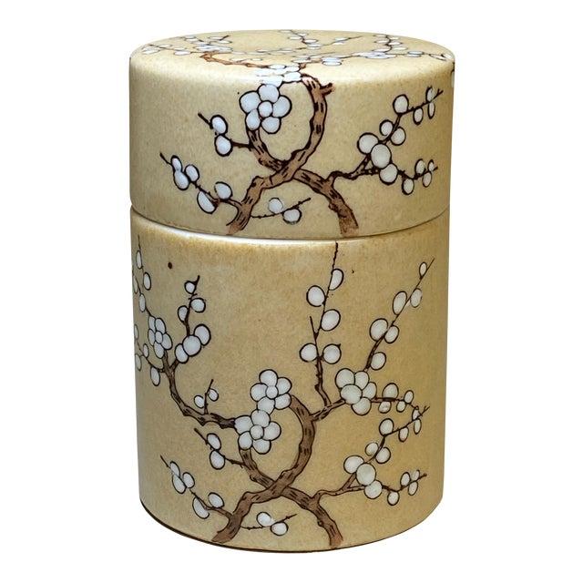 Vintage Hong Kong Hand Painted Lidded Jar For Sale