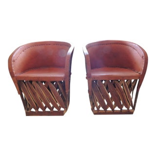 Mexican Equipale Wood and Leather Chairs - a Pair