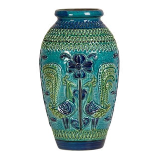 German Glazed Blue and Green Ceramic Vessel, Stamped on Base circa 1900 For Sale