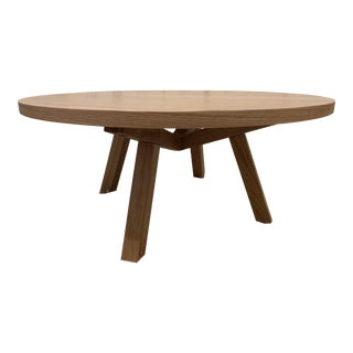 Contemporary Solid White Oak Round Wood Coffee Table For Sale