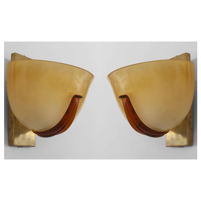 Art Deco Italian 1940s Venetian Murano Gold Dusted Glass Wall Sconces - a Pair For Sale - Image 3 of 3