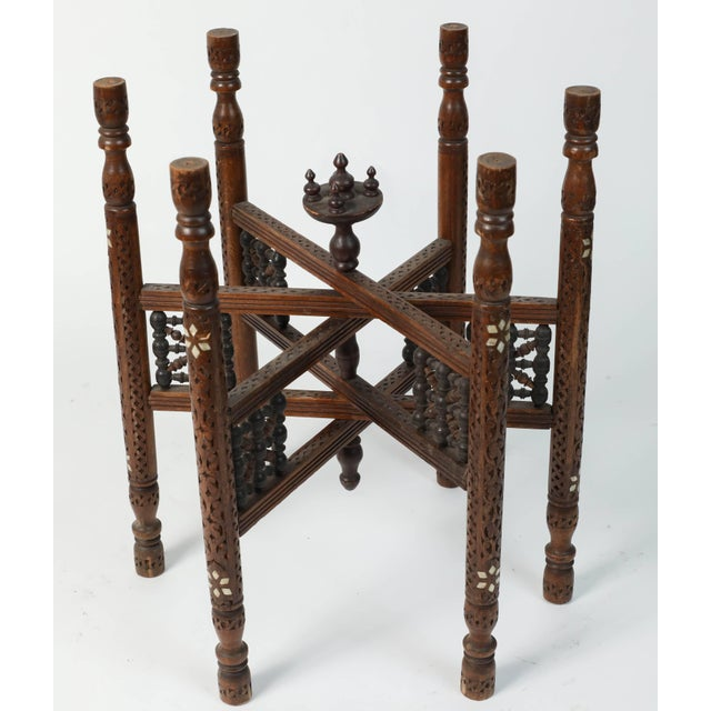 Gold Moroccan Copper Tray Table With Folding Base For Sale - Image 8 of 11