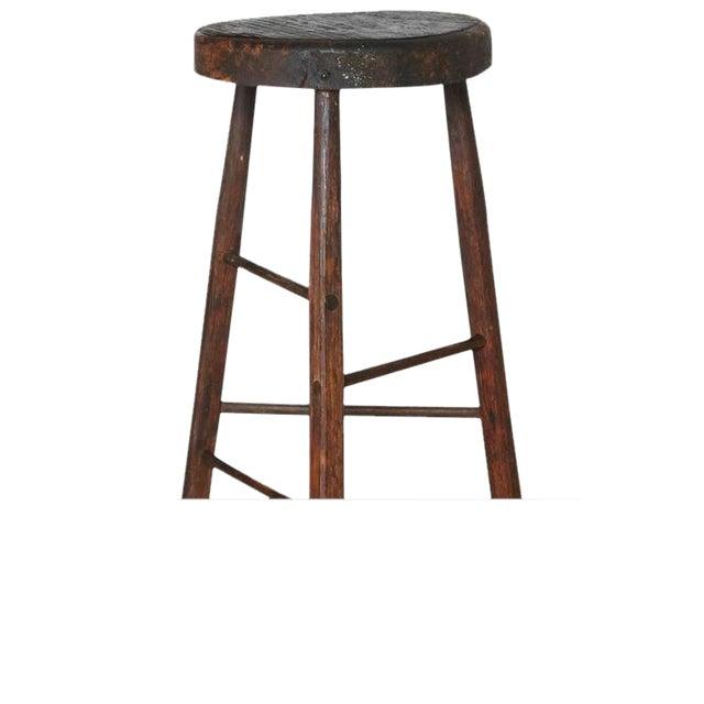 Late 19th Century Primitive Rustic Three Legged Stool For Sale