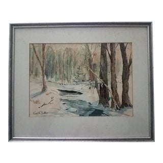 Winter Watercolor Painting by Neal Bellia For Sale