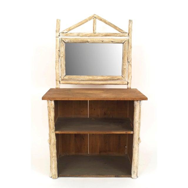 Rustic 1920s Vintage Rustic American Adirondack Birchwood and Bark Dresser Cabinet For Sale - Image 3 of 5