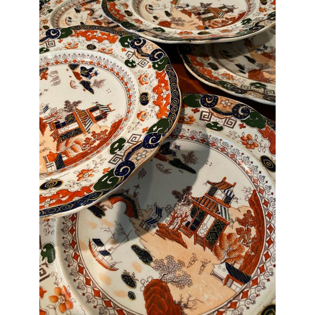 Antique Mason's Ironstone Chinoiserie Luncheon or Dinner Plates — Set of 6 For Sale In Atlanta - Image 6 of 11