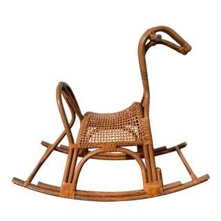 Vintage Rattan Rocking Horse For Sale