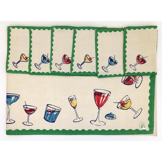 1950s Vintage Linen Cocktail Napkins and Tablecloth - 7 Pieces For Sale - Image 4 of 4