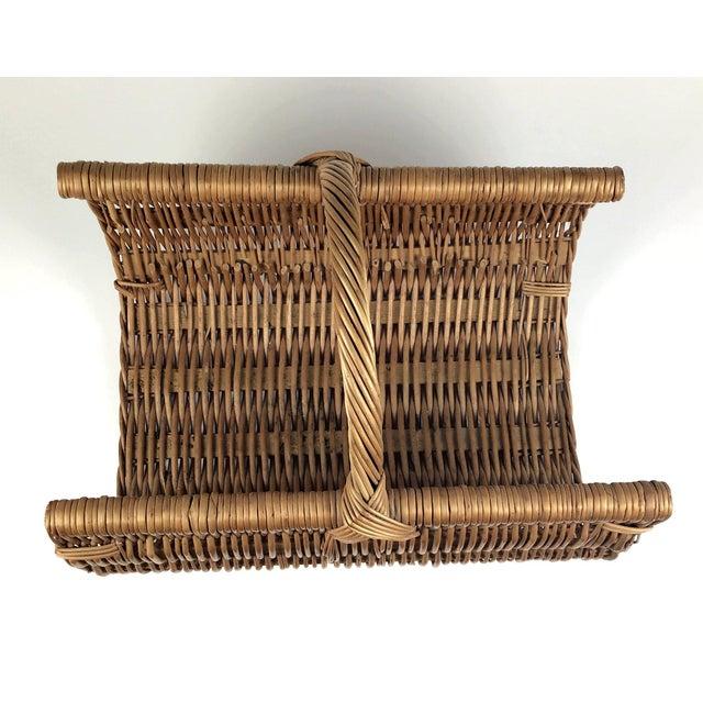Wicker Vintage Wicker Log Basket & Magazine Rack For Sale - Image 7 of 13