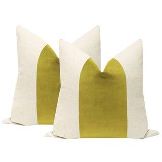 "22"" Chartreuse Velvet Panel & Linen Pillows - a Pair For Sale"
