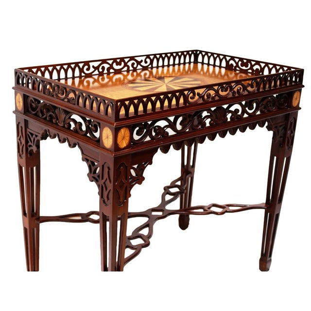 1980s Maitland Smith Chippendale Mahogany Tea Table For Sale - Image 9 of 13