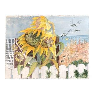 Vintage Large Original Impressionist Watercolor Painting Sunflower Seascape 1970's Signed For Sale