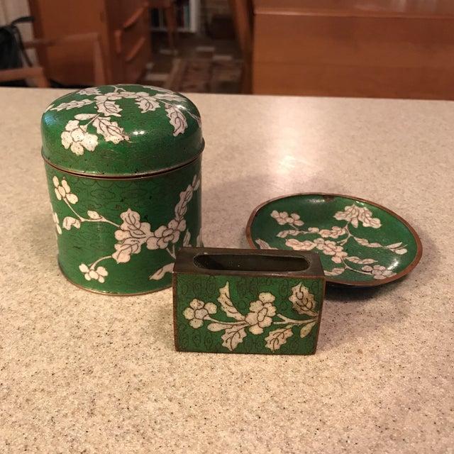 Cloisonne Jar, Matchbook Case, & Tray - Image 2 of 11