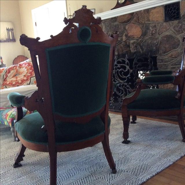 Antique Green Velvet Chairs - Image 5 of 6