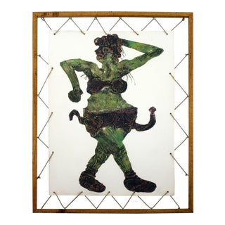 Contemporary Modern Framed Collograph of Hindu Goddess Signed Thayer 1981 For Sale