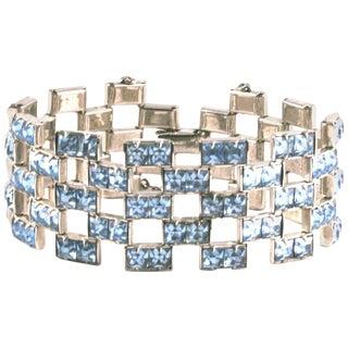 Channel Set Faux Aquamarine Paste Bracelet For Sale