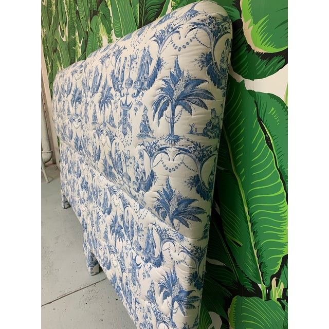Twin Size Chinoiserie Style Upholstered Headboards For Sale - Image 4 of 7