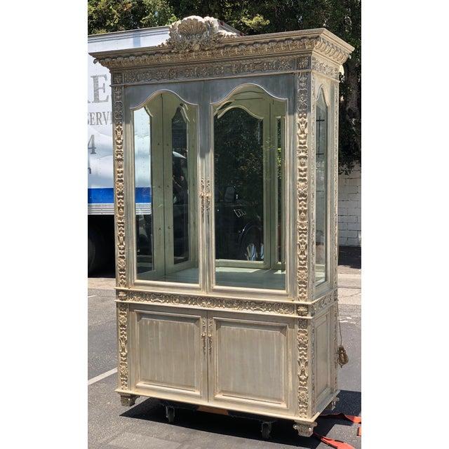 Italian Huge Carved Designer Silver-Leaf Showcase Cabinet For Sale - Image 3 of 5