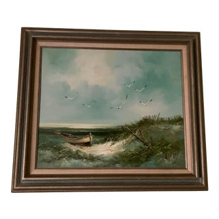 Vintage Nautical H. Gailey Oil Painting of Seascape For Sale